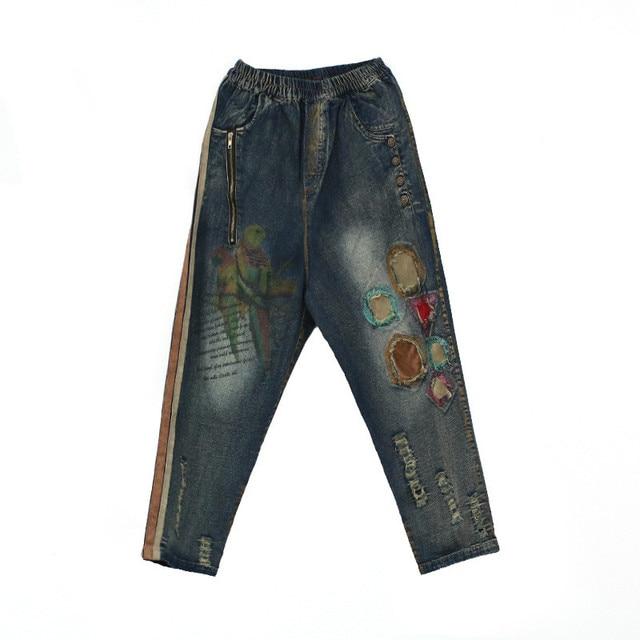 Distrressed Zerrissene Jeans Frauen Farbe Druck Tier Vogel Muster ...