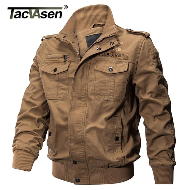 1dbda4826 TACVASEN Men Military Jacket Spring Cotton Slim Jacket Coat Army Pilot  Jacket Autumn Men's Air Force Tactical Jacket TD-QZQQ-008