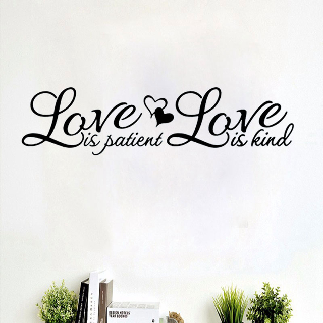 Awesome Love Is Patient Love Is Kind Wall Sticker Vinyl Quotes Home Decal Bedroom  Decor Creative Removable