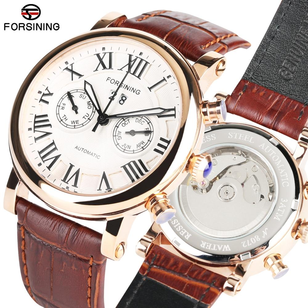 Automatic Mechanical Watches for Men Business Leather Band Watch for Teenagers Fashion Calendar Watch Mechanical for Boy