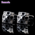Romeda French Cufflinks Brand Casual Black&Silver Square Brand Shirt Cufflink High Quality Camisa Gemelos For Men