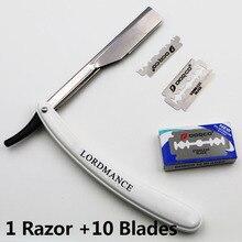1set Men Straight Barber edge Razors Folding Shaving Knife Hair Removal Tools With 10pcs Blades цена и фото