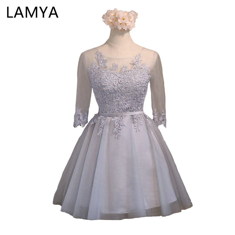 LAMYA Tulle A Line Knee- Lenghe Short Lace Up Prom Dress 2019  Fashion Sweetheart Party Gown Dresses With Sleeve