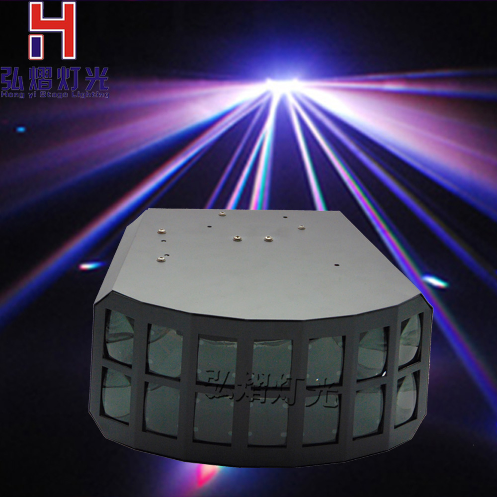 Hongyi Stage Lighting RGBW 4IN1 2x10W Professional KTV Bar Club Party Wedding Stage Lighting LED Double Butterfly DJ Disco Light niugul professional dmx512 led butterfly stage effect light 2x10w rgbw 4in1 led double butterfly light club disco bar ktv lights