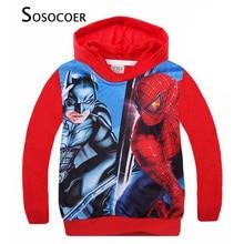 SOSOCOER Enfant Garçon T-shirt Survêtement 2017 Automne Spiderman Garçons Manteau À Capuchon de Bande Dessinée Anime Spider-man À Manches Longues Enfants vêtements