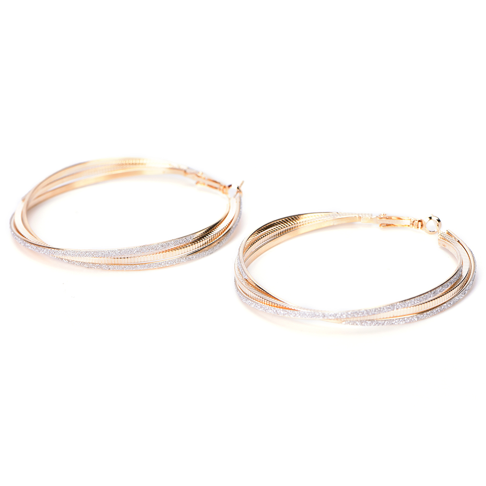 Golden Sliver Twisted Hoop Round Big Earrings Goldcolor Carving Ear Studs  For Women Gift