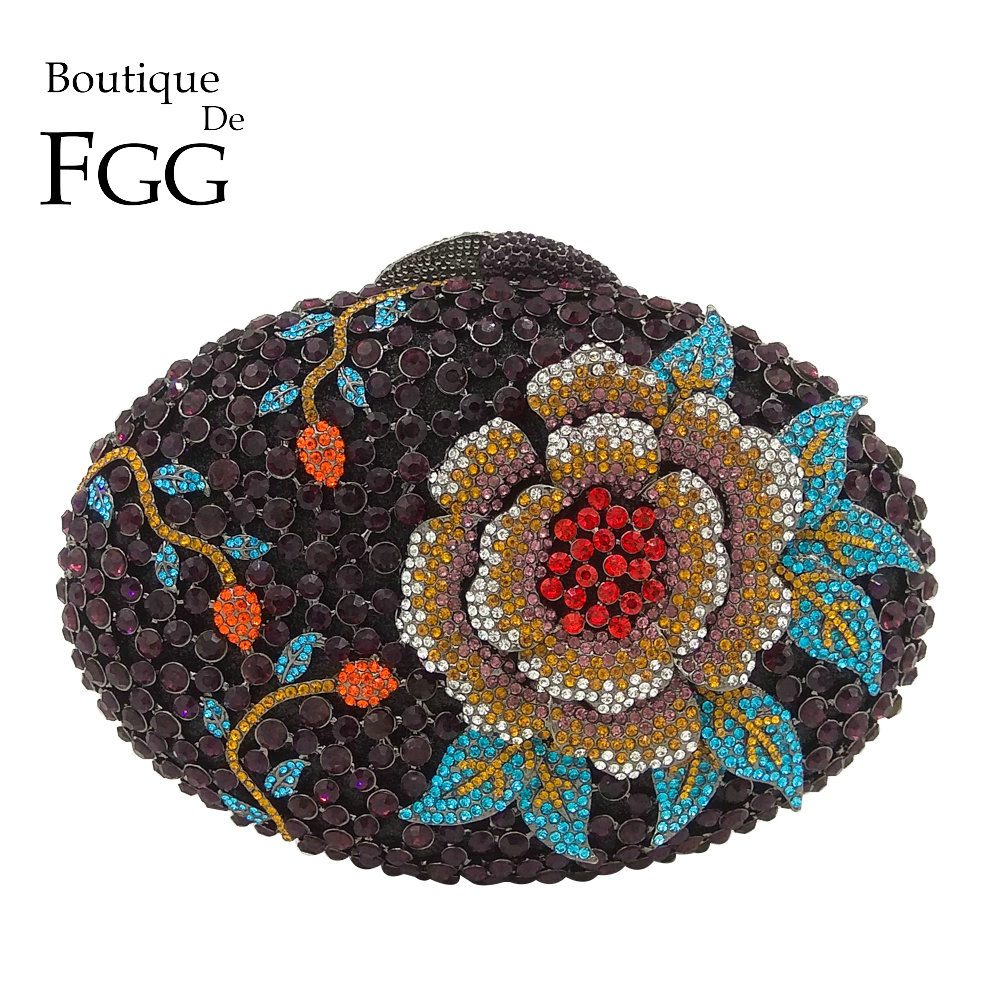 Boutique De FGG Hollow Out Rose Flower Green Crystal Women Evening Clutch Minaudiere Bag Wedding Cocktail Party Handbag Purse