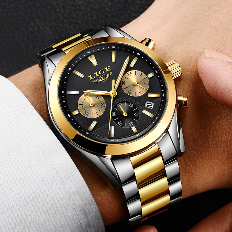 Relojes para Hombre 2018 nuevo en este momento Relojes superior de la marca de lujo de la acero reloj de cuarzo de los hombres Deporte Militar reloj a prueba de