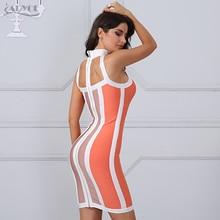 Adyce 2018 New Fashion Women Bandage Dress Striped Halter Vestidos Sleeveless Knee-Length Celebrity Evening Party Dresses