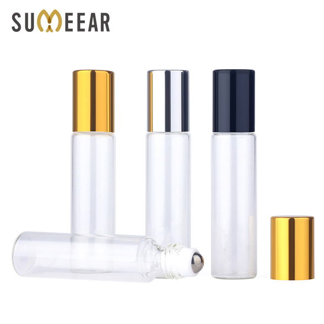 50pieces/lot 10ml Essential Oil Bottle Glass Roll on Perfume Bottle For Essential Oils Empty Cosmetic Case With roller bottles