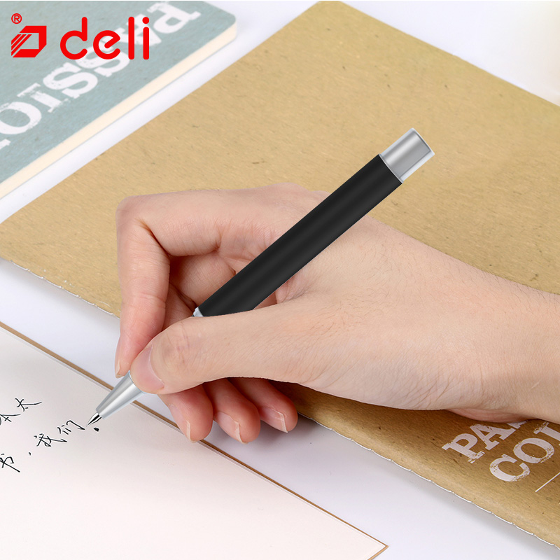 Deli 4pcs/lot writing gel pen student 0.5mm black ink smooth write neutral pens stationery for exam school & office supplies deli 1pc gel pen student stationery 0 5mm black gel ink pen luxury metal best writing neutral pens office