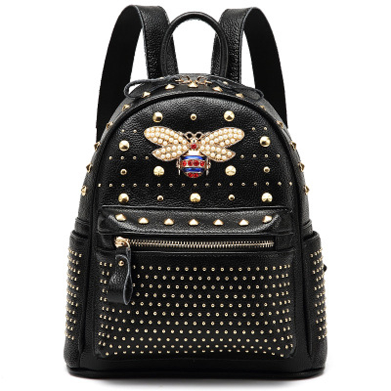 2018 New come fashion Women bag Diamond bee Bags Pearl Rivet Travel Shoulder Bag PU leather School backpack Female Bag 930 2018 new rivet pu leather backpack women fashion school bag casual patent leather travel bag women backpack monster school bag