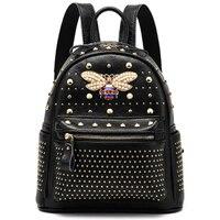 2019 New come fashion Women bag Diamond bee Bags Pearl Rivet Travel Shoulder Bag PU leather School backpack Female Bag 930