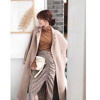Autumn Winter Women Wool Blend Coat Oversize Loose Casual Elegant Trench Coat Outerwear Wool Coat