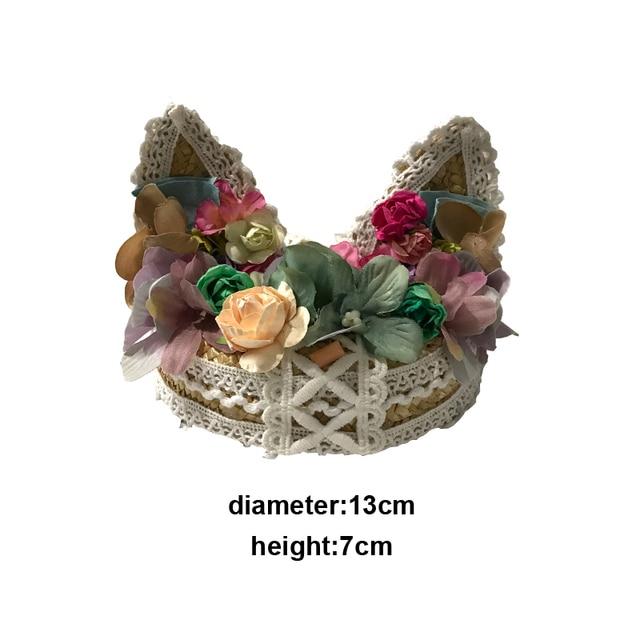Lolita Floral Straw Lace Fascinator Hat Cat Ear Floral Mini Hat Woodland Fairy Wedding Festiva Mini Top Hats Custom-made