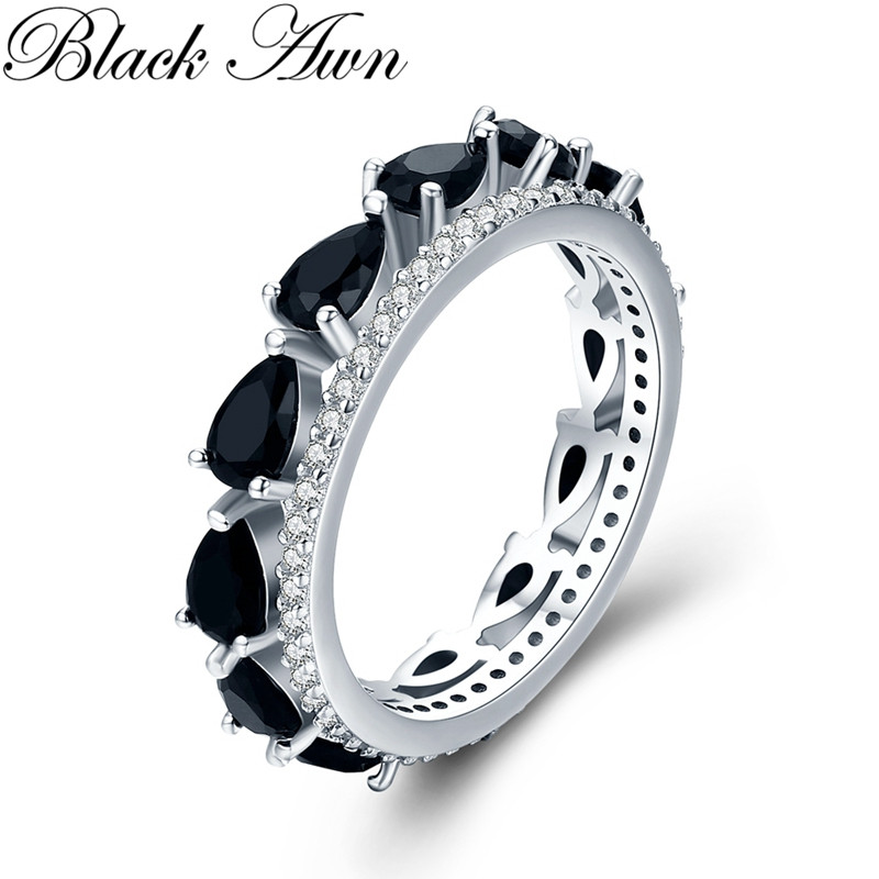 Classic 3.1g 925 Sterling Silver Fine Jewelry Baguet Row Engagement Black Spinel  Engagement Rings For Women G026