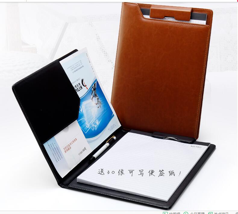 325*250 Mm High Quality Planner A4 Business Manager Stationery PU Leather Clipboard With Pen Cap Cover Name Card Holder  1307