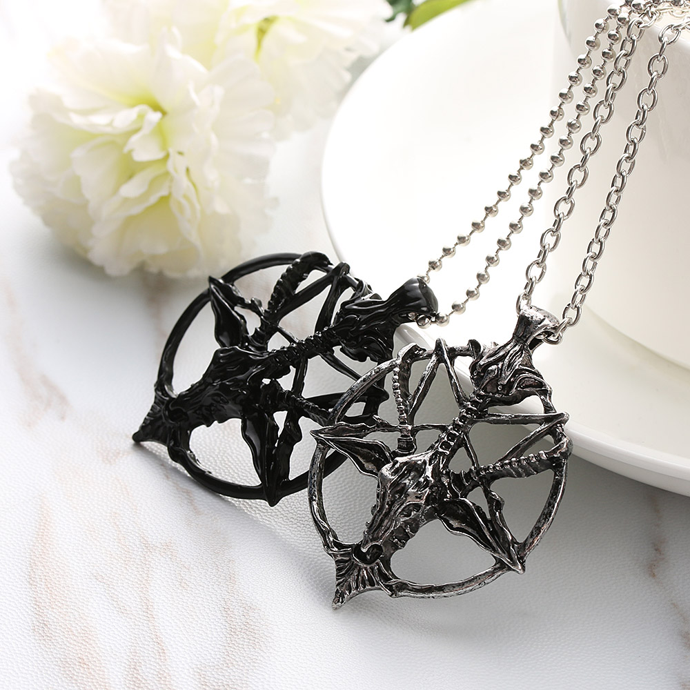 Satanic Goat Necklace Pentagram Skull with Chain 1