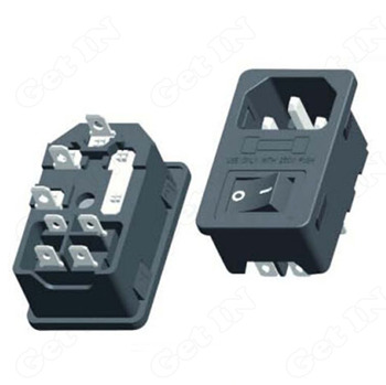 50PCS  AC-10 3 in 1 Environmental AC DC Power Jacks with Fuse ON/OFF Switches 4 Foot AC Power Socket Industury Accessories