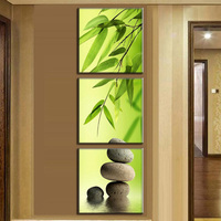 3 Pcs/set Canvas Paintings Still Life Bamboo and Stone Vertical Forms On Canvas Wall Art Pictures For Living Room Decor Picture