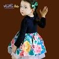 Vestidos para as meninas 2017 Algodão Colorido Da Flor Longo-manga Roupas Meninas Do Bebê Coreano Bonito Impressão Costura Crianças Roupas