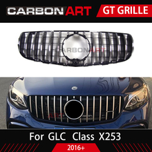 front grille suitable for glc class w253 gtr 2015 2018 x253 glc200 glc250 glc300 glc450 glc63 grille without central logo GLC X253 AMG-style Front Racing Mesh Grill for Mercedes X253 GLC200 GLC250 GLC300 GlC450 Sport Version Silver 2017+