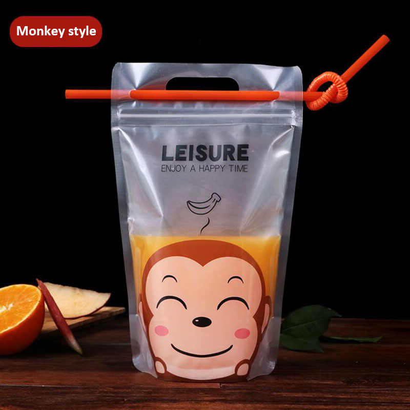 100 pcs Colorful Cute Cartoon Plastic Beverage Bag DIY Drink Container Drinking Water Bag Juice Food Storage Bag with Handle