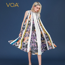 VOA Heavy Silk Plus Size 5XL Loose Robe Dress Women Long Swing Dresses Print Boho Summer Sleeveless Casual Harajuku Sweet A369