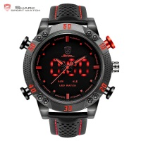 Kitefin Shark Black Red Dial Quartz Analog Blue LED Digital Alarm Date Day Display Leather Strap