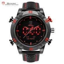 Kitefin Shark ספורט שעונים מותג Mens הצבאי עור אדום מעורר תאריך הדיגיטלי LED אנלוגי Hour קוורץ שורש כף יד שעונים Relogio/SH261