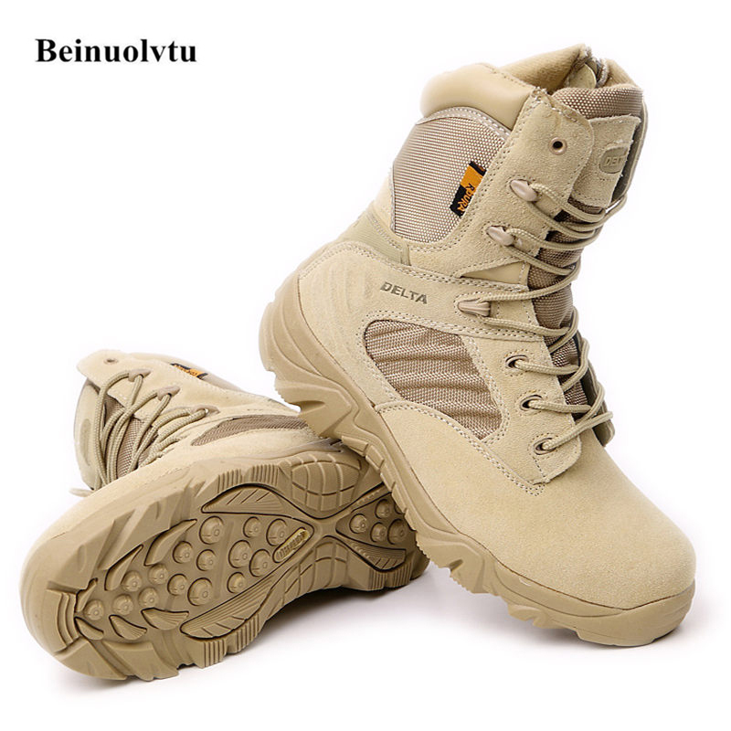 Genuine Leather Hiking shoes Outdoor Sneakers Botas Special forces tactical desert combat Military boots for Men new outdoor hiking boots special forces tactical boots men s desert combat boots size 39 40 41 42 43 44 45