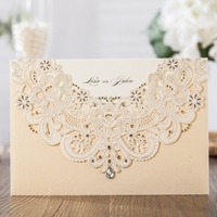 WISHMADE Laser Cut Wedding Invitation Card Holder 50pcs Gold Hollow Invite Design Engagement Bridal Shower Printable CW6115