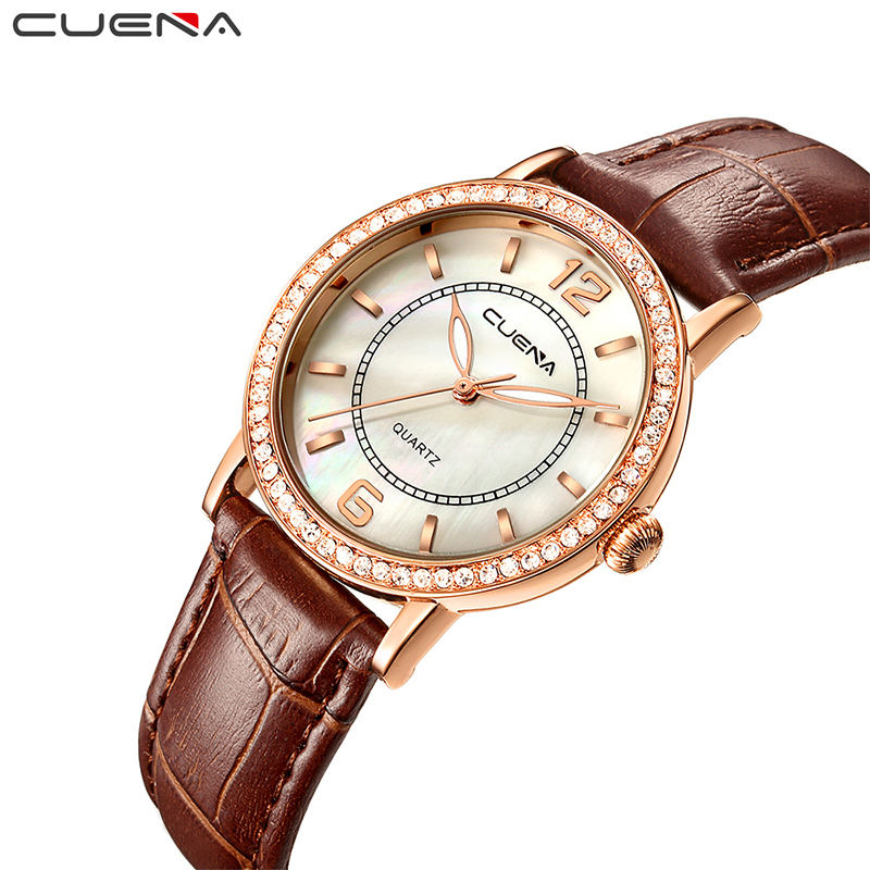 CUENA Top Women's Watches Genuine Leather Women Quartz Watch Relojes Reloj Mujer Montre Femme Relogio Feminino Ladies Clock 6626 tezer ladies fashion quartz watch women leather casual dress watches rose gold crystal relojes mujer montre femme ab2004