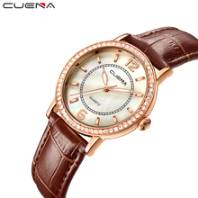 CUENA Top Women's Watches Genuine Leather Women Quartz Watch Relojes Reloj Mujer Montre Femme Relogio Feminino Ladies Clock 6626