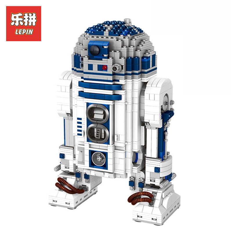 Lepin 05043 2127Pcs Star Wars Genuine Blocks Series The R2 Robot Set Out of print D2 Building Blocks Bricks Children Toys 10225 new 2127pcs lepin 05043 star war series r2 d2 the robot building blocks bricks model toys 10225 boys gifts