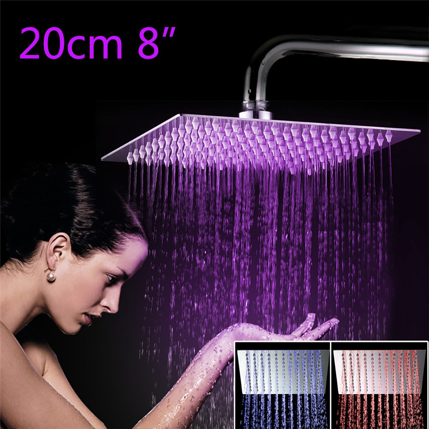 YANKSMART 3 Colors LED Perfect Luxury Hot Sale LED Square Rain 8 Shower Head Wall Ceiling Mounted Top Over-head Shower Sprayer 12 led square rain shower head wall mounted shower arm w shower hose top over shower sprayer