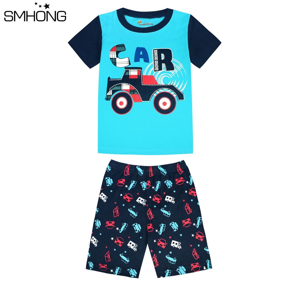 SMHONG Children's pajamas set summer short sleeved boy car pyjamas girls cartoon home clothes children's sleepwear clothes set