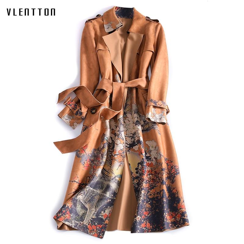 New 2019 Autumn Winter Suede   Trench   Coat Women Retro Print Long Coat Plus Size Female Windbreaker Coat abrigos largos mujer