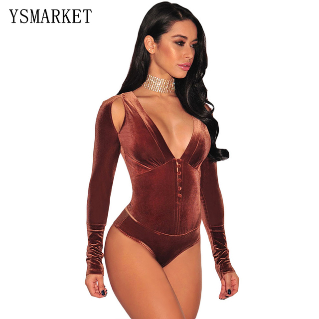 New Women Sexy Long Sleeve Deep V Neck Cut Out Velvet Bodysuit Spring Winter Elegant Hollow Out Teddy Lingerie Sleepwear R32123