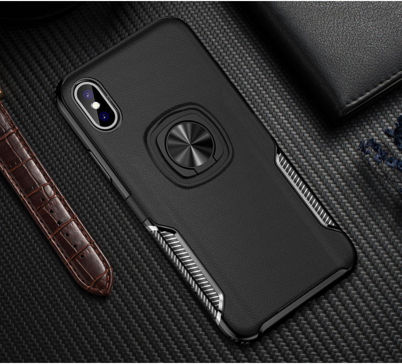 Luxury Leather texture Bracket case For iPhone x xs max xr Shockproof armor cover For iphone 6 6s 7 8 plus case with ring holder (11)
