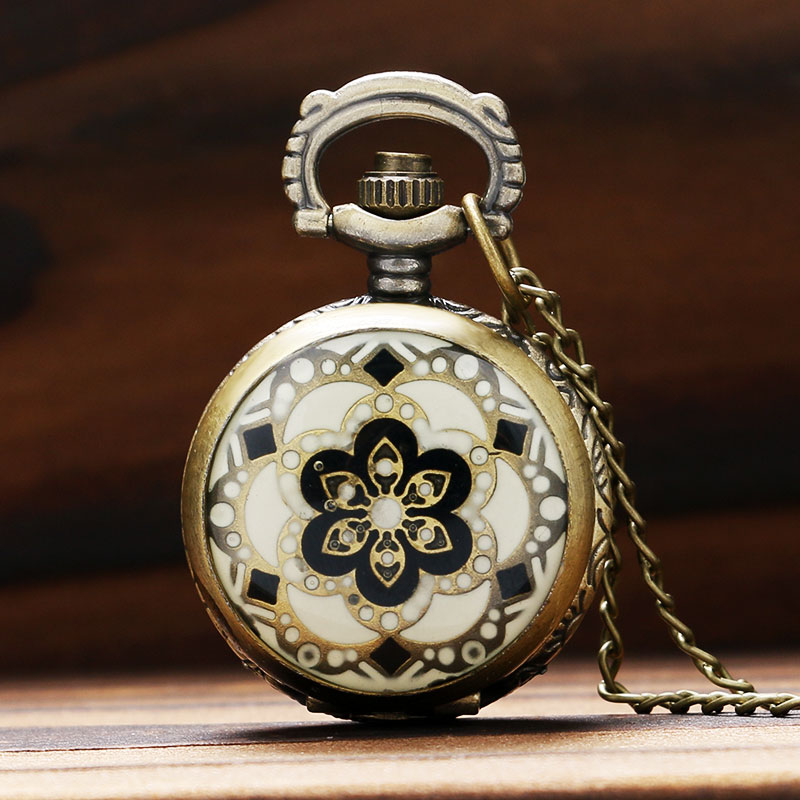 Elegant Women's Small Size Flower Case Design Quartz Pocket Watches Sweater Pendant Necklace Gift For Ladies Girls