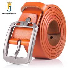 FAJARINA Fashion Design Alloy Buckle Metal Belt Casual Jeans Retro Styles Cowskin Leather Belt for Men Freeshipping N17FJ500