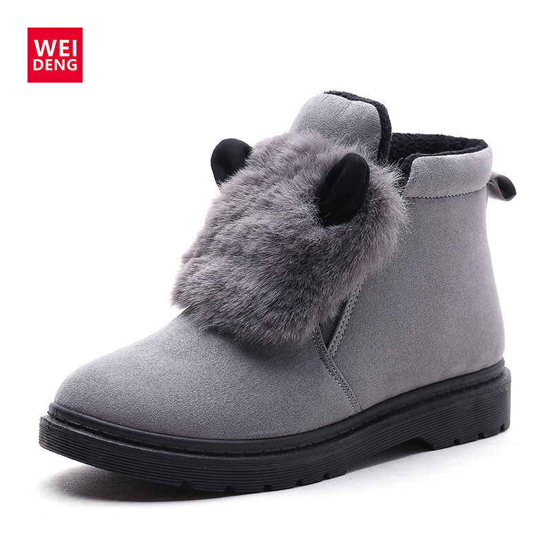 WeiDeng Winter Keep Warm Cute Natural Rabbit Fur Shoes Martin Suede Ankle Boots Plush Thickening Women Snow Boots Australia 2017 new lightweight breathable suede mens casual shoes adult keep warm with fur