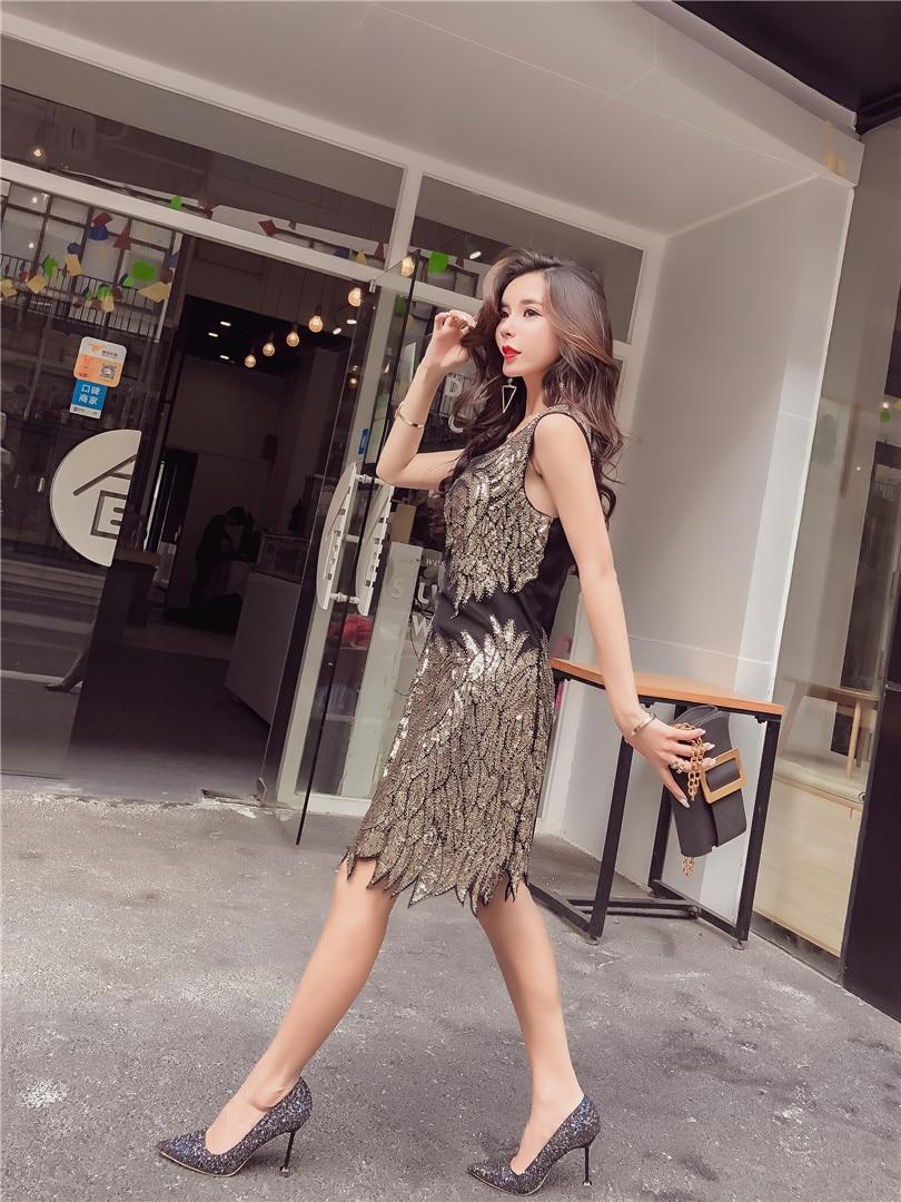 O Noir kaki Gaine Coton Sexy Amérique Europe Style Dentelle Paillettes Réel Robe Nu Femmes cou 2018 L'ukraine Perlé D'été Et Dos Nouveau FqSR4SwIx