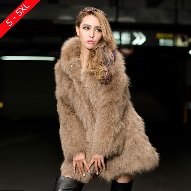 dabb14d7f12 White Faux Fur Coat Winter Coat Women Thick Medium-long Hooded Rabbit Fur  Coats Fox Plus Size XXXL 4XL 5XL Mink Fur Coat Black