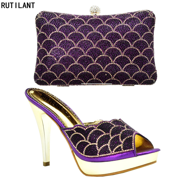 2840faf23f2d Women Italian African Party Pumps Shoes and Bag Purple Color Italian Ladies  Shoe and Bags To Match Set Decorated with Rhinestone