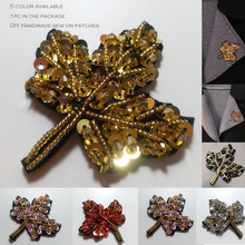 1pc maple leaf beaded patches for clothing Multi color flower leaves Rhinestone appliques Sequins parche DIY clothes accessories
