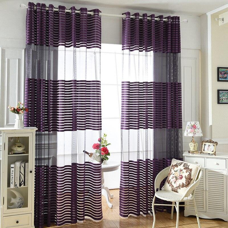 Moderní jednoduché polyesterové fialové látky pruhované ložnice čiré záclony pro obývací pokoj Tyl Panely okna Screening