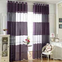Moderne Einfache Polyester Lila Tuch Gestreiften Schlafzimmer Gardinen Fr Wohnzimmer Tll Platten Fenster Screening