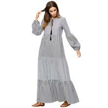 4e28a87fee 2018 Jesień Kobiety Sukienka Plaid Latern Rękawem Maxi Sukienka Elegancka  Sukienka W Stylu Vintage Duże Rozmiary Vestidos De Fie.